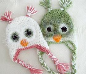 Crochet Fuzzy Owl Baby Hat Newborn to 12 Months