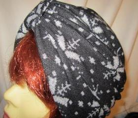 Warm and Cozy Black Gray Snowflakes Soft Knit Chemo Turban Head Cap Alopecia Hijab-FREE Shipping in the US