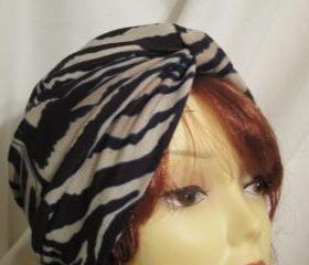 Animal stripes- Beige with black Soft Knits Chemo Turban Head Cap Alopecia Hijab Free Shipping in the US 