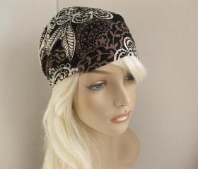 Bohemian Headband Women's Boho Head Wrap Black White Grey Taupe Floral Hair Bandana Michael Miller Fabric Autumn Fall Fashion Style