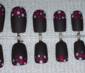 Brown Matte with pink polka dots