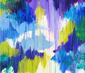 Original Abstract Painting, FREE SHIPPING Plum Purple Lime Avocado Periwinkle Eggplant Winter Dreaming Xmas Christmas Gift Home Decor