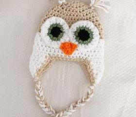 Crochet Baby Owl Ear Flap Hat Newborn to 12 months