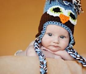 Crochet Infant Owl Ear Flap Hat Newborn to 12 Months