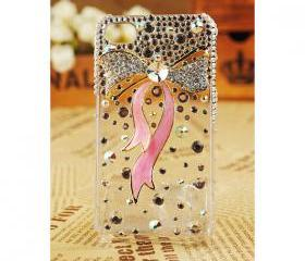 FREE SHIPPING iPhone 4S 4G Stylish Bow Rhinestone Swarovski Crystal Girly Best Clear Transparent Case