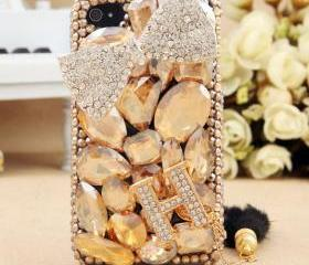 FREE SHIPPING Worldwide Apple iPhone 4S 4G Bling Rhinestone Crystals Bow Letter H Hard Case Cover for girls