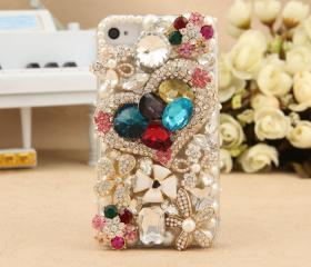 iPhone 4S 4G Case Artificial Rhinestone Swarovski Crystals Heart Flowers Bling Cover