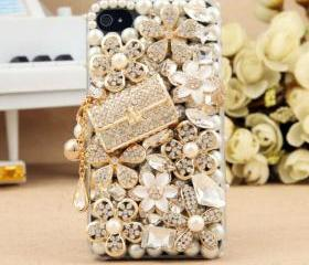 FREE SHIPPING Worldwide Apple iPhone 4S 4G Bling Crystals Bag White Flower Hard Clear Case Cover