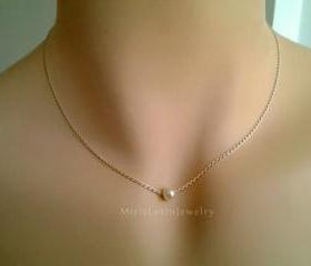 Pearl Necklace - Special SALE - White Pearl Pendant Necklace - single freshwater pearl on sterling silver chain.