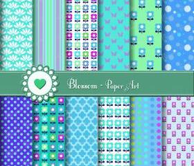Digital Paper - Blue Green Violet Turquoise - Flowers - DIY Projects - Personal and Commercial Use - 1384