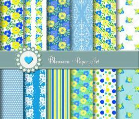 Digital Scrapbooking Paper - Flowers - Blue Yellow Turquoise Green - Personal and Commercial Use - 1386