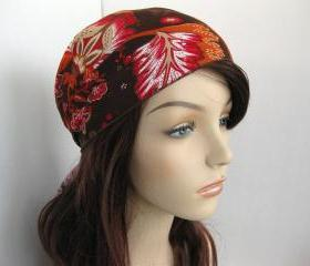 Hair Head Scarf Kerchief Brown Orange Red Floral Print Head Wrap Women's Boho Head Covering