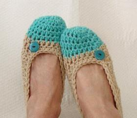 Crochet Slippers for Women Two Toned