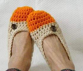 Crochet Slippers for Women Two Toned Orange Sherbert