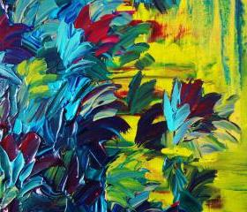 Floral Abstract Painting, FREE SHIPPING Flower Acrylic Art, 12 x 12 Beautiful Purple Blue Green Seafoam Lime Magenta Yellow