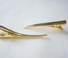25pcs 55mm gold ALLIGATOR Hair clips with pad And TEETH C34