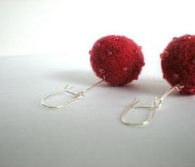 Christmas Bauble Earrings - Needle Felted Red/Pink Balls