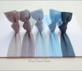 Elastic Hair Ties - Set of 5 - West Coast Rain Collection - Mane Accessory