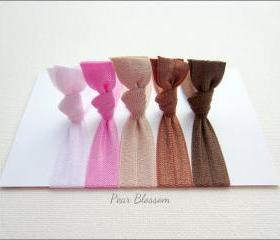 Elastic Hair Ties - Set of 5 - Pear Blossom Collection - Knotted Hair Ties - Mane Accessory