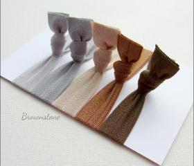Elastic Hair Ties - Set of 5 - Brownstone Collection - Mane Accessory