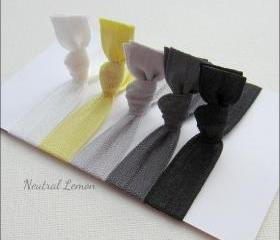 Elastic Hair Ties - Set of 5 - Neutral Lemon Collection - Mane Accessory