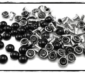 50pcs Black Domed Rivets Rapid Stud RV166
