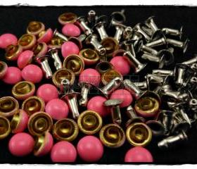 50pcs Shocking Pink Domed Rivets Rapid Stud RV186