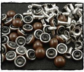 50pcs 6mm Brown Domed Rivets Rapid Stud RV1186