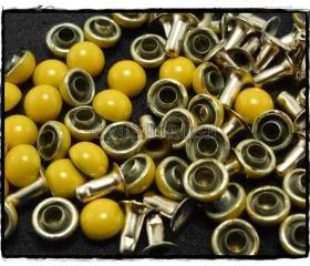 50pcs 6mm Yellow Domed Rivets Rapid Stud RV1226