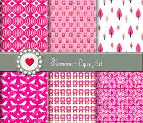 Hot Pink Digital Scrapbooking Paper - Printables - DIY Projects - Personal and Commercial Use - 1391