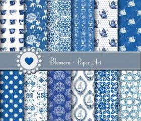 Blue and White Porcelain - Digital Scrapbooking Paper - DIY Projects - Personal and Commercial Use - 1394