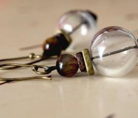 Tiger eye Earrings with hand blown glass with greek ceramic- Country blown glass Earrings.