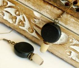 Black Earrings with a brown beige rustic touch - Boho Black Resin Earrings