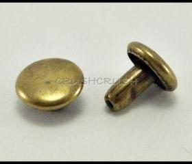DOUBLE CAP -- 100x7mm Brass Round Rivets Studs RV227B