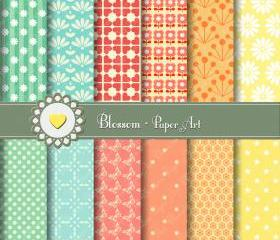 Peach Yellow Green Cute Digital Papers - Scrapbooking - DIY Projects - Personal and Commercial Use - 1400