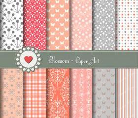 Peach and Grey Digital Paper - Scrapbooking - DIY Projects - Personal and Commercial Use - 1385