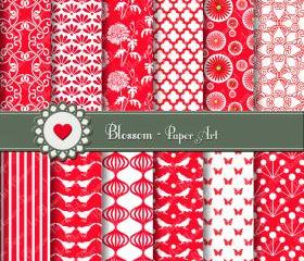 Red Digital Scrapbooking Paper - Invitations - Cardmaking - Wrapping Paper - DIY Projects - 1389