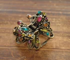 Colourful Rhinestone Filigree Butterfly Claw Clip