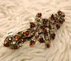 Amber Rhinestone Filigree Barrettes Hair Clips