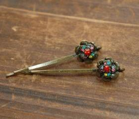 Emerald Red Ruby Rhinestone Flower Bobby Pin