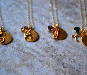 Gold Filled Initial and Birthstone Charm Necklace
