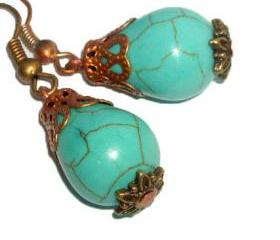 BUY 4 - GET 1 pair earrings FREE..Turquoise stone brass filigree vintage look bride bridesmaid earrings- affordable gift