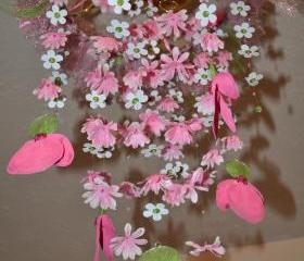Ladybugs in Springtime (Pink/Green Flower Mobile) 