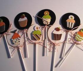 Set of 8 Halloween Cupcake Picks