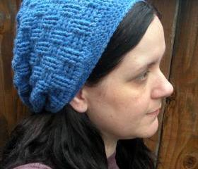Unisex Basket Weave Slouch Hat in heather blue, ready to ship.