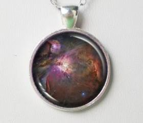 Nebula Pendant Necklace -Orion Nebula Cabochon Necklace- Galaxy Pendant Series