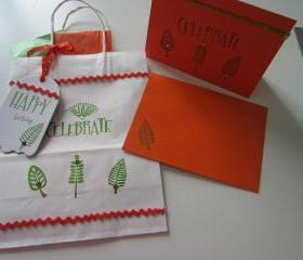 Hand-Crafted Gift Bag with Matching Tag and Birthday Card and Coordinating Tissue