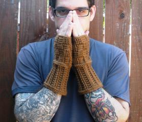 Unisex fingerless gloves wrist warmers in toasted honey, basket weave, ready to ship.