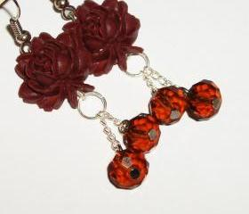 Dangle crystal flower earrings