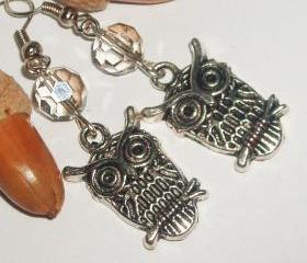 BUY 4 - GET 1 pair earrings FREE..Antique owl charm crystal bead vintage look boho modern earrings